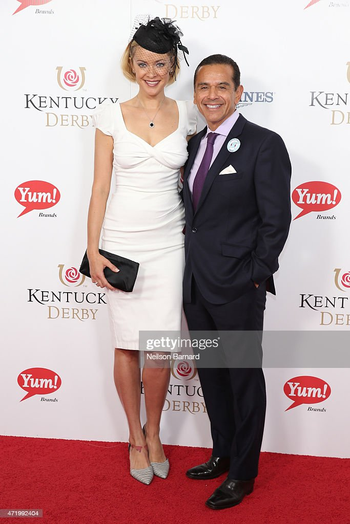 Kristanna Loken and Antonio Villaraigosa attend the 141st Kentucky Derby at Churchill Downs on May 2, 2015 in Louisville, Kentucky.