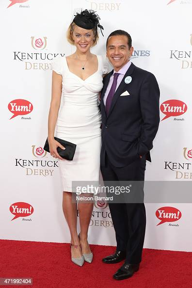Kristanna Loken and Antonio Villaraigosa attend the 141st Kentucky Derby at Churchill Downs on May 2 2015 in Louisville Kentucky