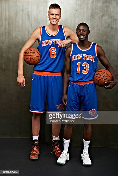 Kristaps Porzingis and Jerian Grant of the New York Knicks poses for a portrait during the 2015 NBA rookie photo shoot on August 8 2015 at the...