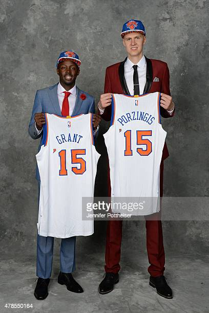 Kristaps Porzingis and Jerian Grant pose for a portrait after being drafted by the New York Knicks during the 2015 NBA Draft at the Barclays Center...