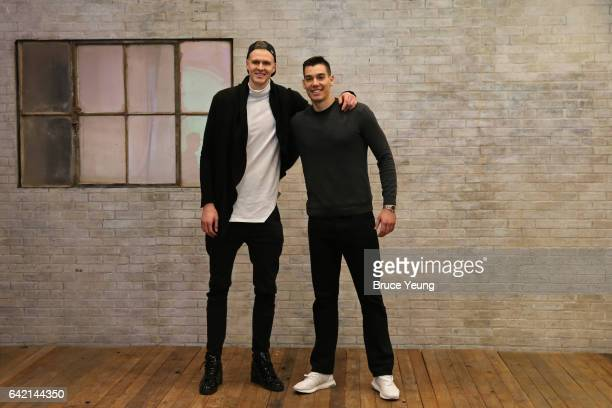 Kristaps Porzingis and Willy Hernangomez of the New York Knicks pose for a photo during the 2017 AllStar Media Circuit at the Ritz Carlton on...