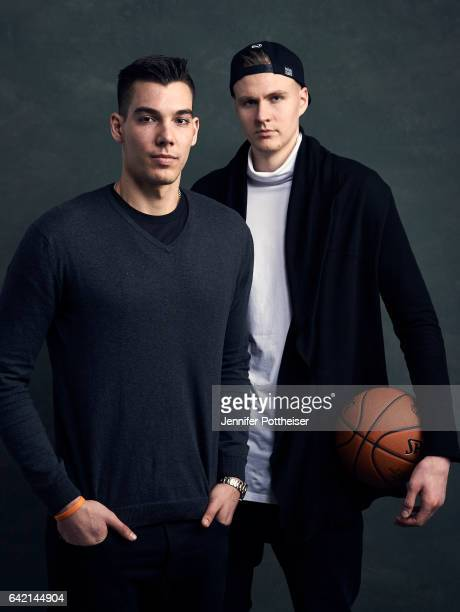 Kristaps Porzingis and Willy Hernangomez of the New York Knicks poses for portraits during the NBAE Circuit as part of 2017 AllStar Weekend at the...
