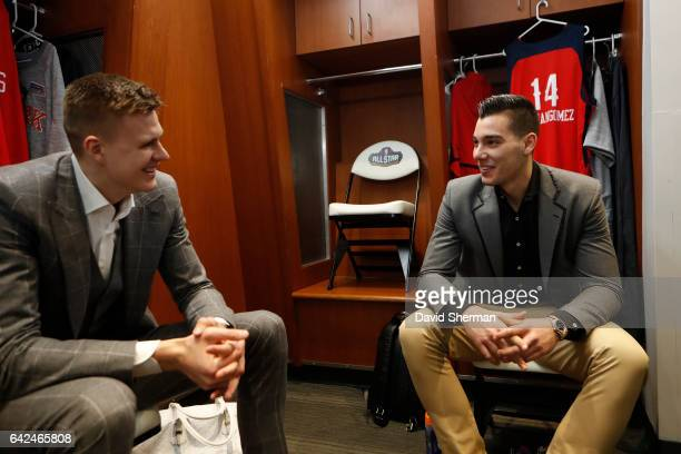 Kristaps Porzingis and Willy Hernangomez of the World Team are seen the BBVA Compass Rising Stars Challenge as part of 2017 AllStar Weekend at the...