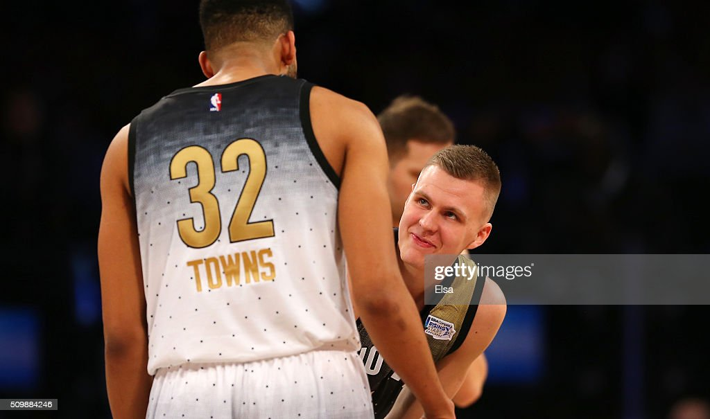 Kristaps Porzingis #6 of the New York Knicks and World team prepares for the opening tip against Karl-Anthony Towns #32 of the Minnesota Timberwolves and the United States team during the BBVA Compass Rising Stars Challenge 2016 at Air Canada Centre on February 12, 2016 in Toronto, Canada.