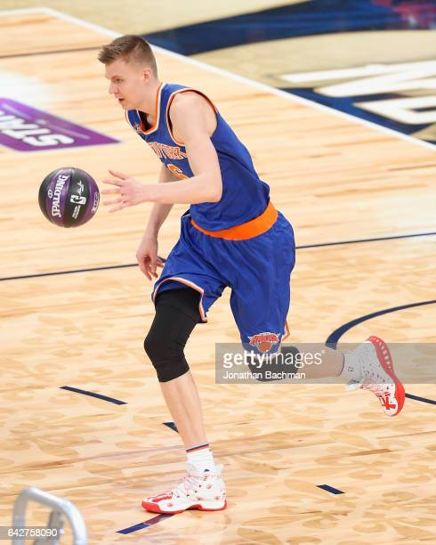 Kristaps Porzingis of the New York Knicks competes in the 2017 Taco Bell Skills Challenge at Smoothie King Center on February 18 2017 in New Orleans...