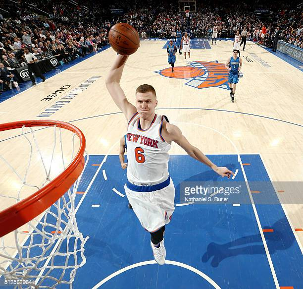 Kristaps Porzingis of the New York Knicks goes for the dunk during the game against the Orlando Magic on February 26 2016 at Madison Square Garden in...