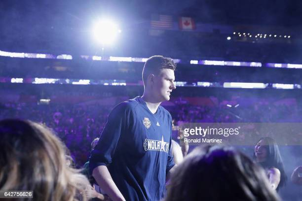 Kristaps Porzingis of the New York Knicks is introduced prior to the 2017 Taco Bell Skills Challenge at Smoothie King Center on February 18 2017 in...