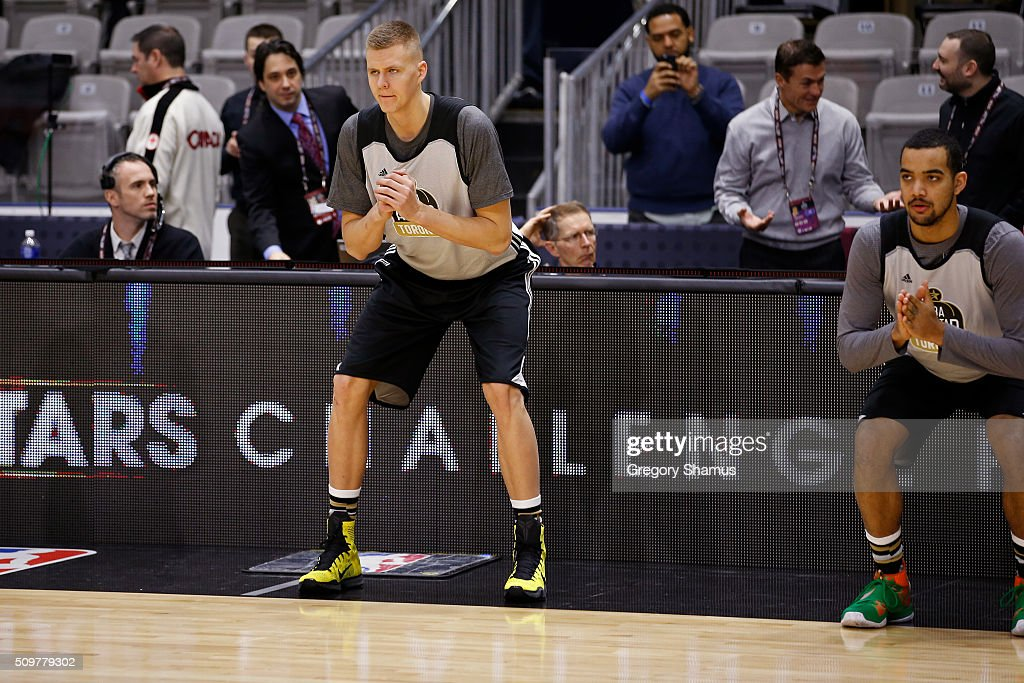 Kristaps Porzingis #6 of the New York Knicks participates during the BBVA Rising Stars Challenge Practice as part of 2016 All-Star Weekend at NBA Centre Court of the Enercare Centre on February 12, 2016 in Toronto, Ontario, Canada.