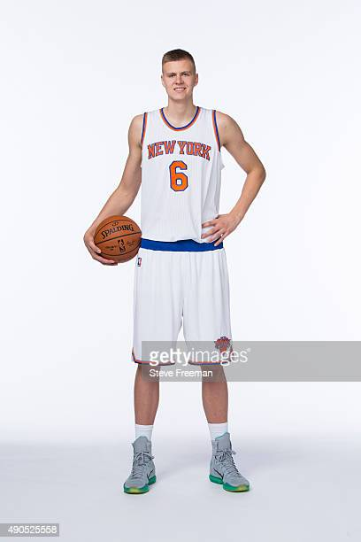Kristaps Porzingis of the New York Knicks poses for a portrait at Media Day at the MSG Training Facility in Greenburgh New York on September 28 2015...