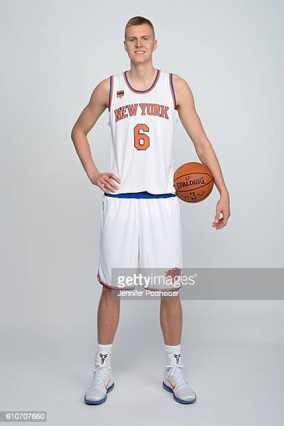 Kristaps Porzingis of the New York Knicks poses for a portrait during media day at the Ritz Carlton in White Plains New York on September 26 2016...