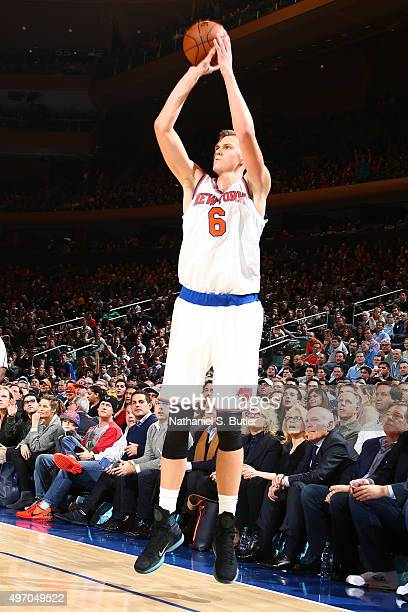 Kristaps Porzingis of the New York Knicks shoots against the Cleveland Cavaliers on November 13 2015 at Madison Square Garden in New York City NOTE...