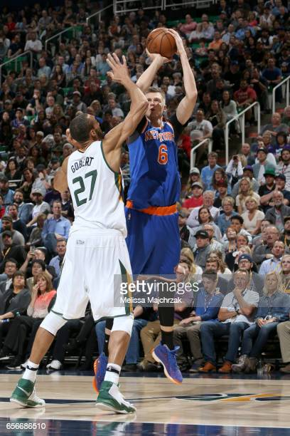 Kristaps Porzingis of the New York Knicks shoots the ball against the Utah Jazz on March 22 2017 at vivintSmartHome Arena in Salt Lake City Utah NOTE...