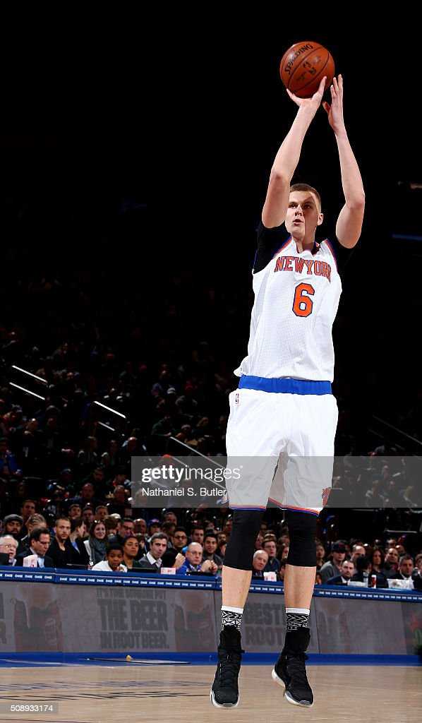 Kristaps Porzingis #6 of the New York Knicks shoots the ball during the game against the Denver Nuggets on February 7, 2016 at Madison Square Garden in New York City, New York.