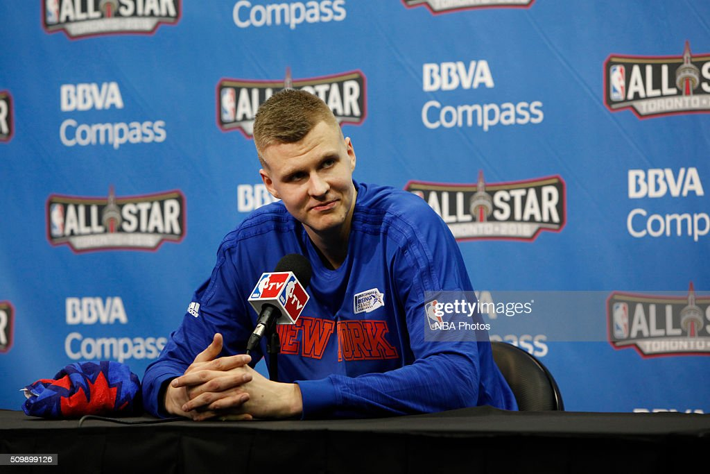 Kristaps Porzingis #6 of the World Team speaks with press after the BBVA Compass Rising Stars Challenge against the USA Team as part of the 2016 NBA All Star Weekend on February 12, 2016 at Air Canada Centre in Toronto, Ontario.