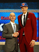Kristaps Porzingis poses with Commissioner Adam Silver after being selected fourth overall by the New York Knicks in the First Round of the 2015 NBA...