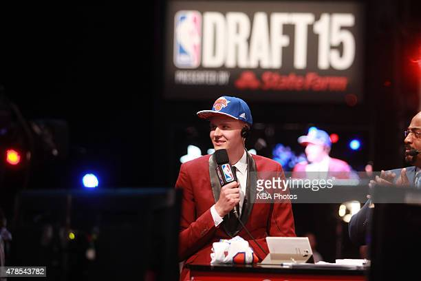 Kristaps Porzingis the fourth pick overall in the NBA Draft by the New York Knicks is interviewed during the 2015 NBA Draft at the Barclays Center on...