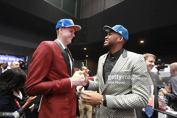 Kristaps Porzingis the fourth pick overall in the NBA Draft by the New York Knicks and KarlAnthony Towns the first pick overall in the NBA Draft by...