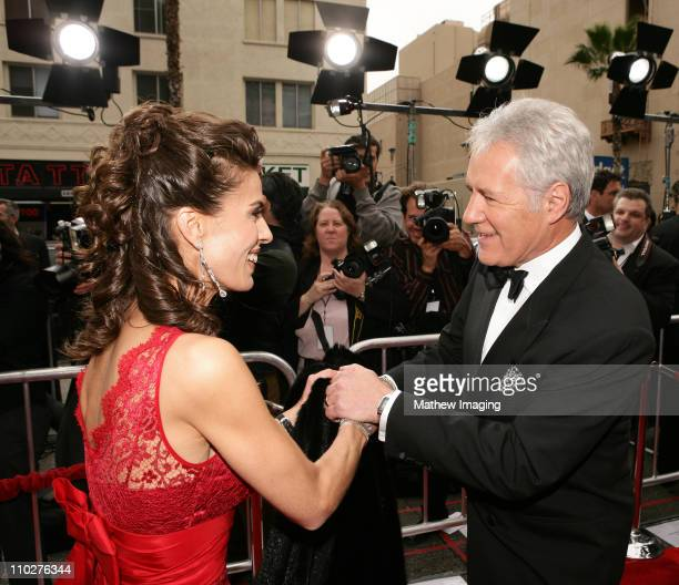 Kristen Alfonso and Alex Trebek during 33rd Annual Daytime Emmy Awards Red Carpet at Kodak Theater in Hollywood California United States
