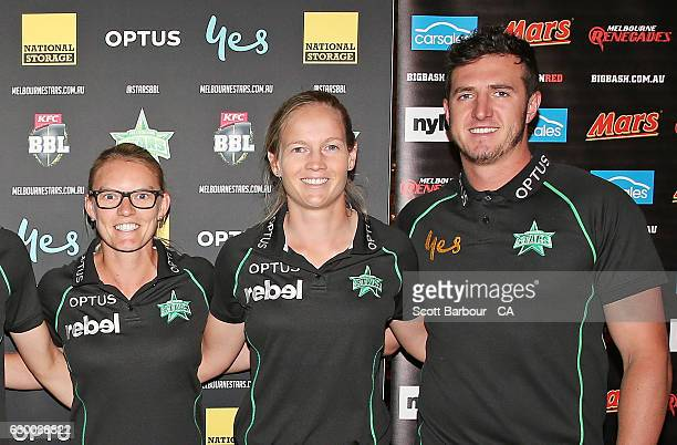 Kristen Beams Meg Lanning and Daniel Worrall of the Stars BBL and WBBL teams attend the Melbourne Stars Rivalry Lunch at Crown Palladium on December...