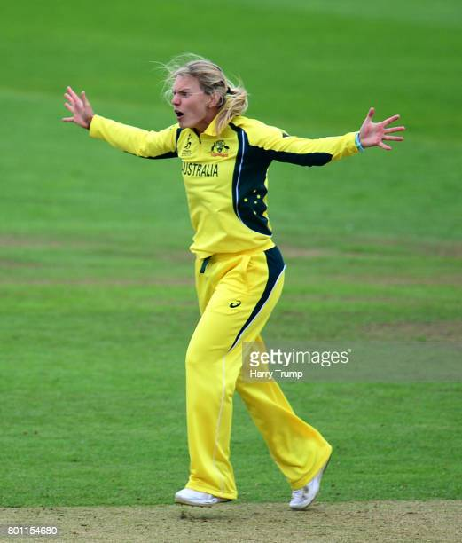Kristen Beams of Australia appeals during the ICC Women's World Cup 2017 match between Australia and West Indies at The Cooper Associates County...