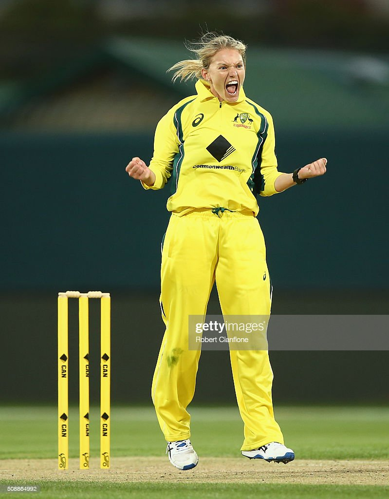 <a gi-track='captionPersonalityLinkClicked' href=/galleries/search?phrase=Kristen+Beams&family=editorial&specificpeople=4667771 ng-click='$event.stopPropagation()'>Kristen Beams</a> of Australia celebrates after taking the wicket of Smriti Mandha of India during game three of the one day international series between Australia and India at Blundstone Arena on February 7, 2016 in Hobart, Australia.