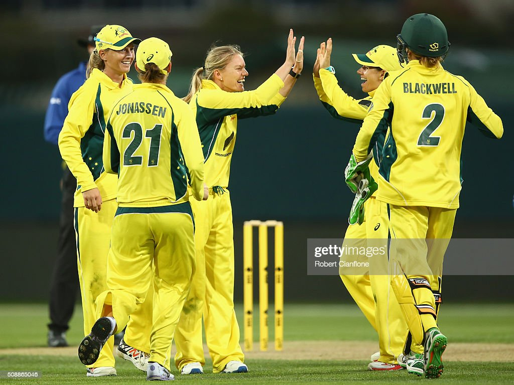 Kristen Beams of Australia celebrates after taking the wicket of Smriti Mandha of India during game three of the one day international series between Australia and India at Blundstone Arena on February 7, 2016 in Hobart, Australia.