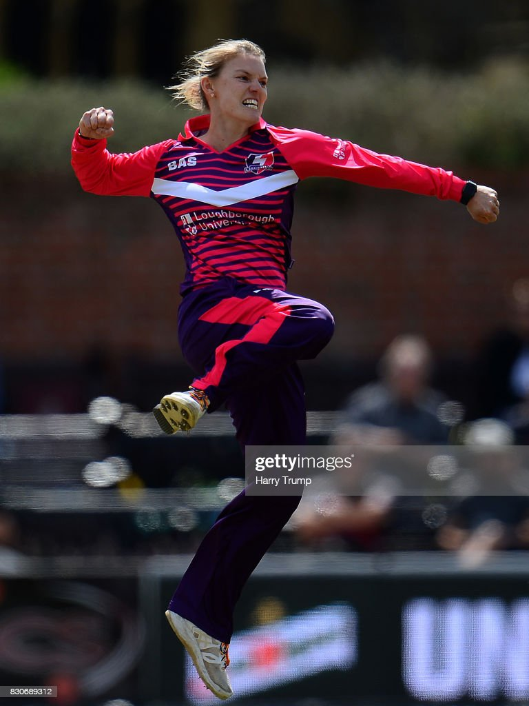 Kristen Beams of Loughborough Lightning celebrates after dismissing Rachel Priest of Western Storm during the Kia Super League 2017 match between Western Storm and Loughborough Lightning at The Cooper Associates County Ground on August 12, 2017 in Taunton, England.