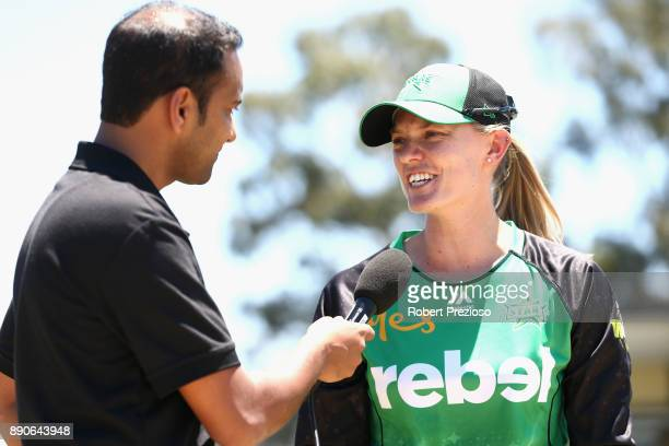 Kristen Beams of the Melbourne Stars speaks after completing the coin toss during the Women's Big Bash League match between the Sydney Thunder and...