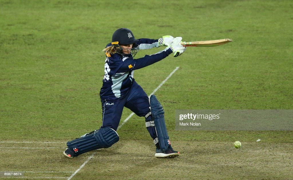 Kristen Beams of Vic bats during the WNCL match between ACT and Victoria at Manuka Oval on October 6, 2017 in Canberra, Australia.