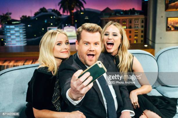 Kristen Bell and Dianna Agron chat with James Corden during 'The Late Late Show with James Corden' Thursday November 2 2017 On The CBS Television...