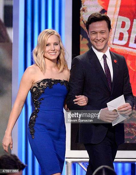 Kristen Bell and Joseph GordonLevitt speak onstage during the 2014 Film Independent Spirit Awards at Santa Monica Beach on March 1 2014 in Santa...