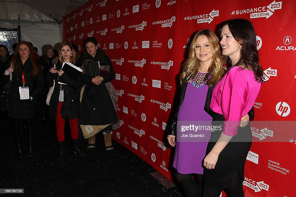 <a gi-track='captionPersonalityLinkClicked' href=/galleries/search?phrase=Kristen+Bell&family=editorial&specificpeople=194764 ng-click='$event.stopPropagation()'>Kristen Bell</a> and Liz Garcia arrive at 'The Lifeguard' Premiere - 2013 Sundance Film Festival at Library Center Theater on January 19, 2013 in Park City, Utah.