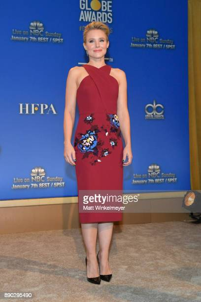 Kristen Bell speaks during the 75th Annual Golden Globe Nominations Announcement on December 11 2017 in Los Angeles California