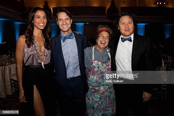 Kristen Bellamy Dr Luke Evnin Susan Feniger and Eric Kau pose for a photo at Scleroderma Research Foundation's Cool Comedy Hot Cuisine event at the...