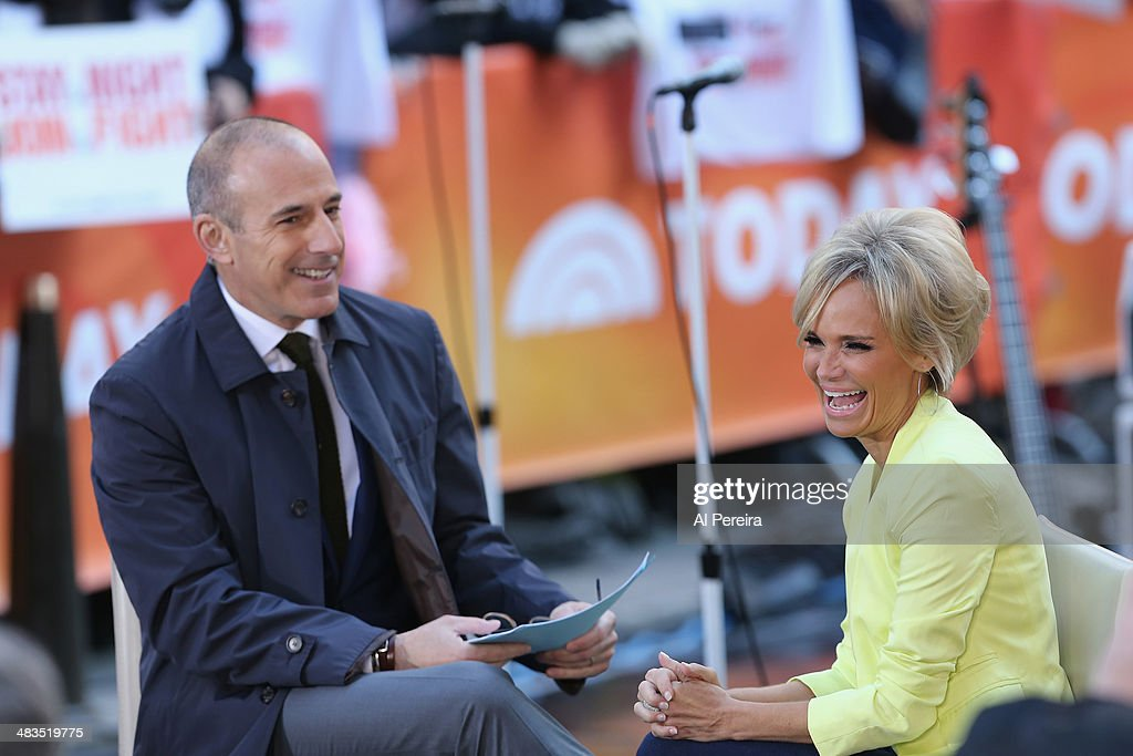 Kristen Chenoweth is interviewed by 'Today Show' host <a gi-track='captionPersonalityLinkClicked' href=/galleries/search?phrase=Matt+Lauer&family=editorial&specificpeople=206146 ng-click='$event.stopPropagation()'>Matt Lauer</a> when Janelle Monae performs on NBC's 'Today' at Rockefeller Plaza on April 9, 2014 in New York City.