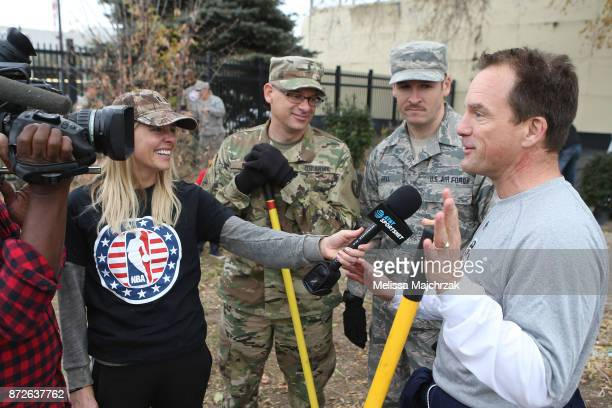 Kristen Kenney the Utah Jazz sideline reporter and on air host David Locke interview servicemen during the Annual Hoops for Troops Week cleaning up...