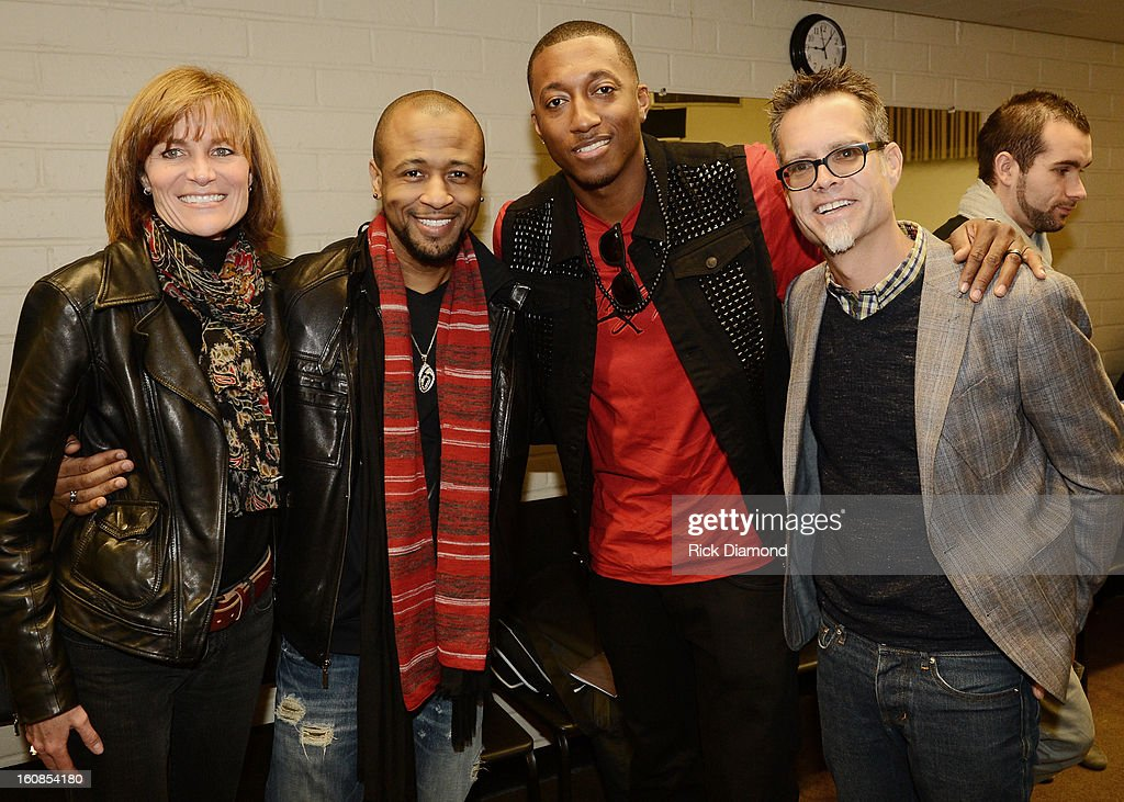 Kristen Madsen, Senior VP Grammy Foundation, Grammy Winner R&B Artist Tony Rich, Musician Lecrae and Rusty Rueff, Chairperson The Grammy Foundation backstage during The 55th Annual GRAMMY Awards - GRAMMY Camp Basic Training held on the campus of USC - Booth Ramos Hall on February 6, 2013 in Los Angeles, California.