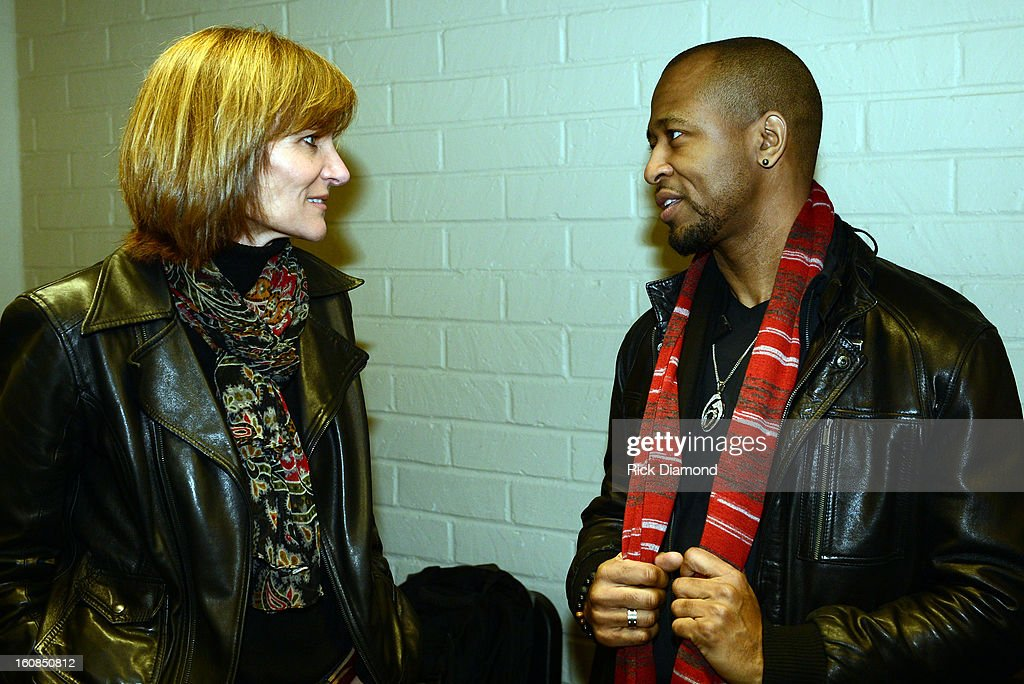 Kristen Madsen, Senior VP The GRAMMY Foundation and Grammy Award winner R&B Singer/Songwriter Tony Rich backstage during The 55th Annual GRAMMY Awards - GRAMMY Camp Basic Training held on the campus of USC - Booth Ramos Hall on February 6, 2013 in Los Angeles, California.