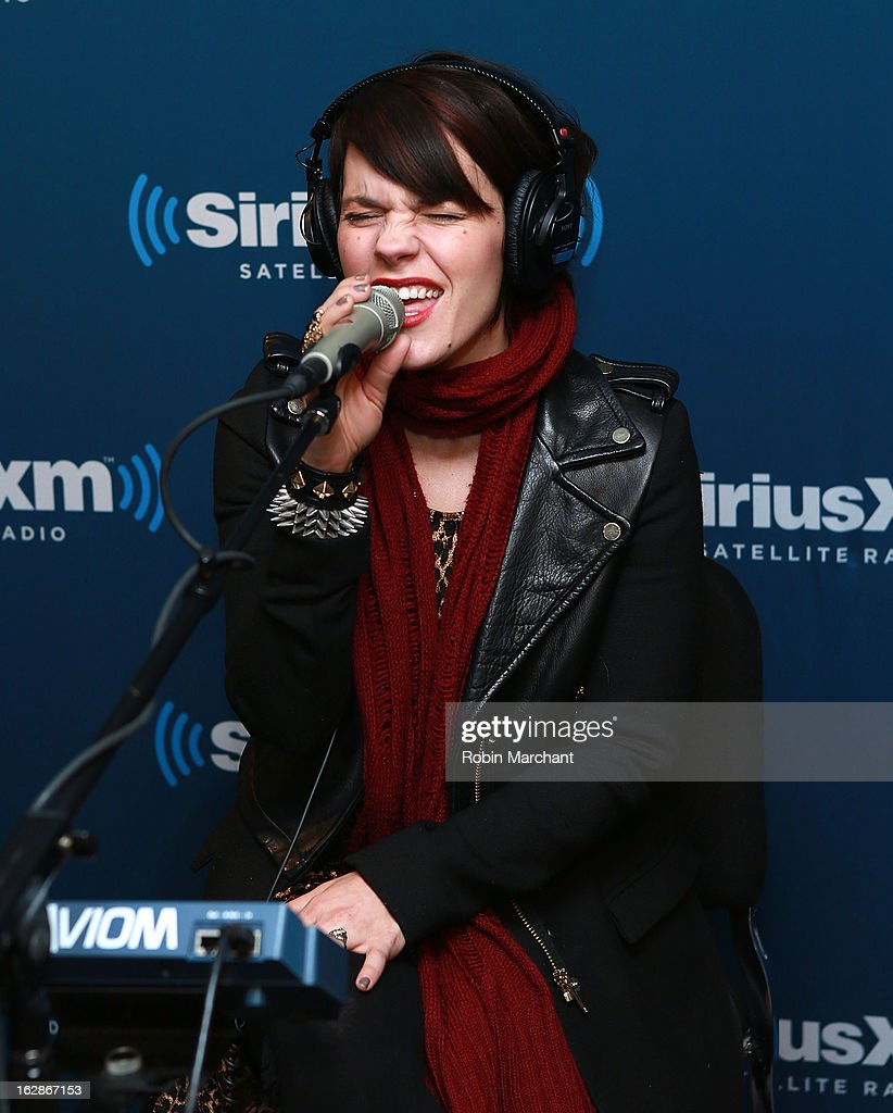 Kristen May of Flyleaf performs on SiriusXM's Octane channel at SiriusXM Studios on February 28, 2013 in New York City.