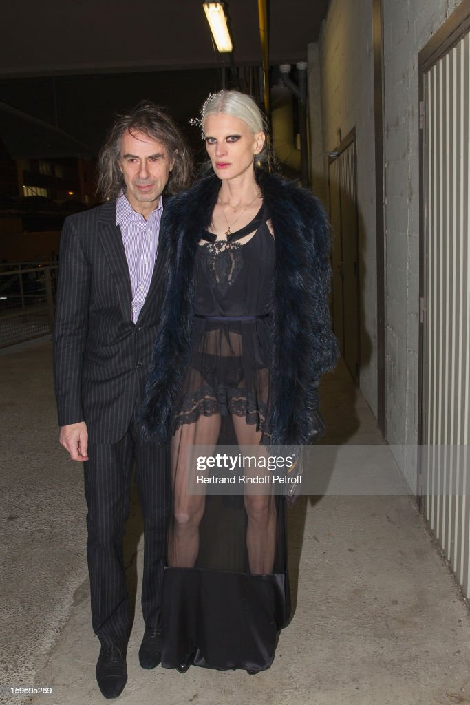 Kristen McMenamy (R) and guest attend the Givenchy Men Autumn / Winter 2013 show as part of Paris Fashion Week on January 18, 2013 in Paris, France.