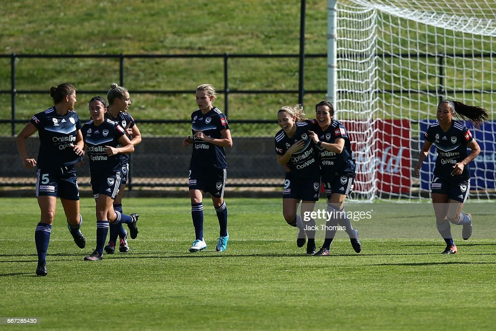 Kristen Mcnabb of the Victory celebrates a goal during the round one W-League match between Melbourne Victory and Canberra United at Epping Stadium on October 28, 2017 in Melbourne, Australia.