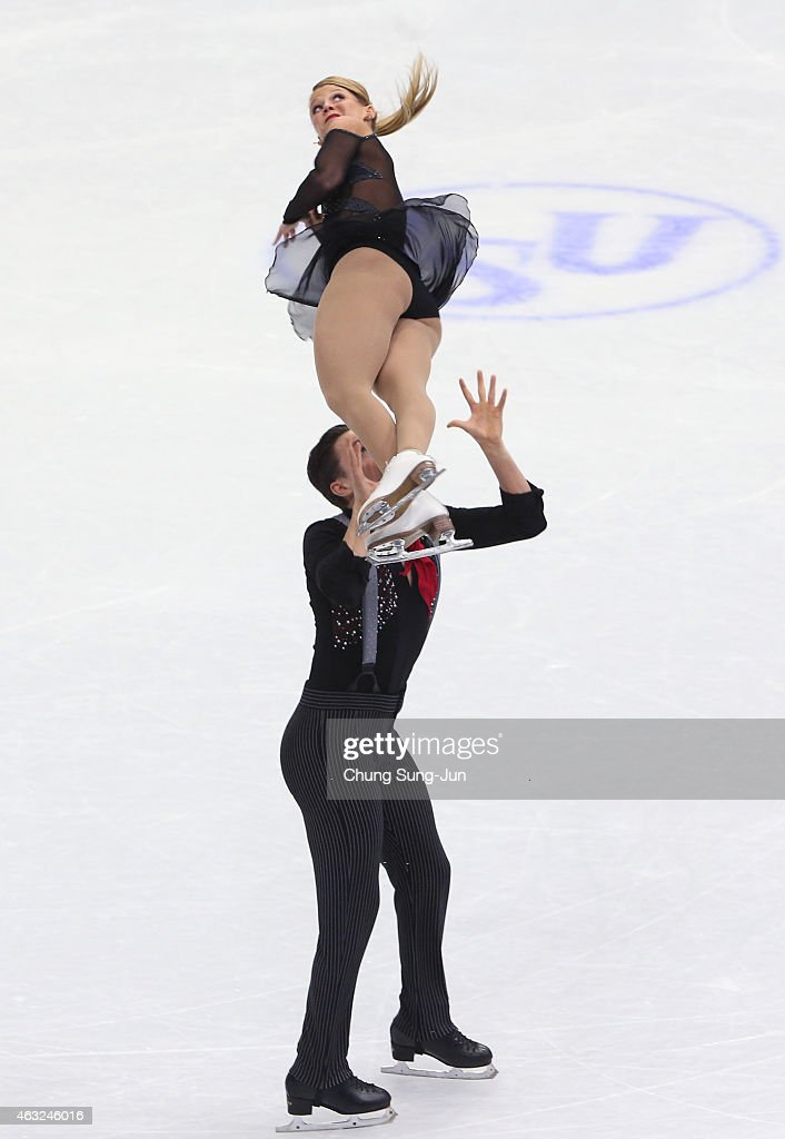 Kristen Moore-Towers and Michael Marinaro of Canada performs during the Pairs Short Program on day one of the ISU Four Continents Figure Skating Championships 2015 at the Mokdong Ice Rink on February 12, 2015 in Seoul, South Korea.