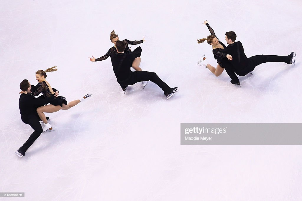 Kristen Moore-Towers and Michael Marinaro of Canada skate in the Pairs Short Program during Day 5 of the ISU World Figure Skating Championships 2016 at TD Garden on April 1, 2016 in Boston, Massachusetts.