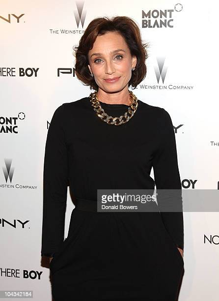 Kristen Scott Thomas attends the New York premiere of The Weinstein Company's 'Nowhere Boy' at the Tribeca Performing Arts Center on September 21...