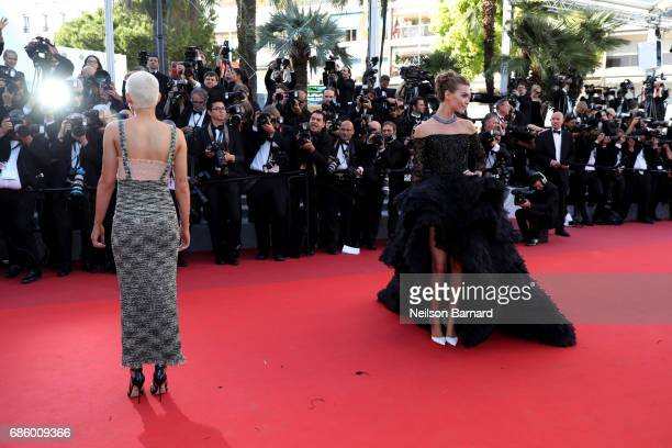Kristen Stewart and Arizona Muse attend the '120 Beats Per Minute ' screening during the 70th annual Cannes Film Festival at Palais des Festivals on...