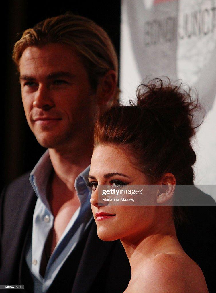 Kristen Stewart and Chris Hemsworth arrive at the Snow White & The Huntsman Australian Premiere at Event Cinemas Bondi Junction on June 19, 2012 in Sydney, Australia.