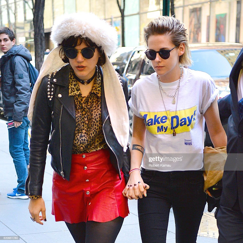 Kristen Stewart and girlfriend Soko hold hands out in Midtown on April 13 2016 in New York City