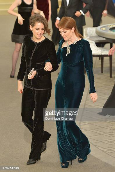 Kristen Stewart and Juilian Moore attend the Chanel show as part of Paris Fashion Week Haute Couture Fall/Winter 2015/2016 on July 7 2015 in Paris...