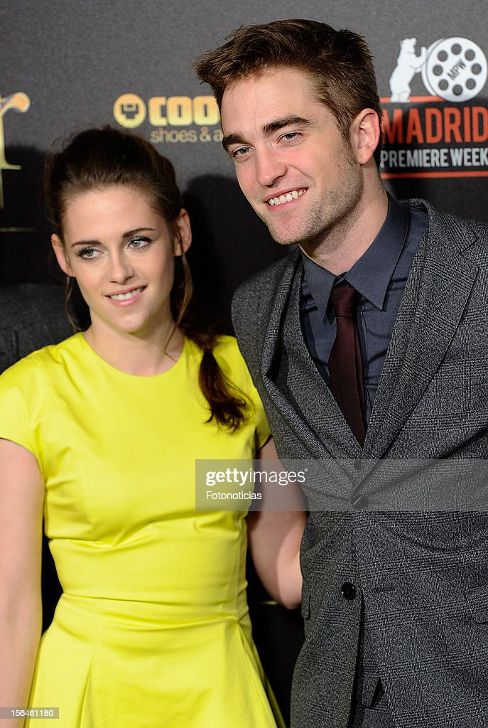 <a gi-track='captionPersonalityLinkClicked' href=/galleries/search?phrase=Kristen+Stewart&family=editorial&specificpeople=2166264 ng-click='$event.stopPropagation()'>Kristen Stewart</a> and <a gi-track='captionPersonalityLinkClicked' href=/galleries/search?phrase=Robert+Pattinson&family=editorial&specificpeople=734445 ng-click='$event.stopPropagation()'>Robert Pattinson</a> attend the premiere of 'The Twilight Saga: Breaking Dawn - Part 2' (La Saga Crepusculo: Amanecer- Parte 2) at Kinepolis Cinema on November 15, 2012 in Madrid, Spain.