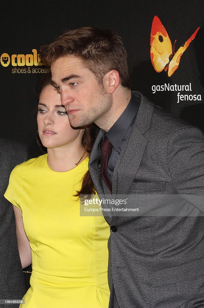 Kristen Stewart, and Robert Pattinson attend 'The Twilight Saga: Breaking Dawn - Part 2' photocall at Kinepolis Cinema on November 15, 2012 in Madrid, Spain.
